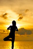 image of natarajasana  - Woman doing yoga at sunset time - JPG