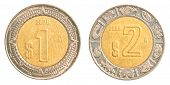 One & Two Mexican Peso Coins
