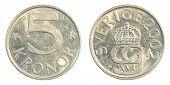 5 Swedish Kronor Coin