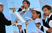 Collage of an engineer working on-site