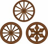 stock photo of wagon wheel  - illustration of three types of old wooden wheels - JPG