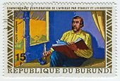 BURUNDI - CIRCA 1973: A stamp printed in Burundi shows image of the Henry Morton Stanley meets David Livingstone, circa 1973.