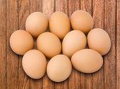 Ten Egg On Plank Wood