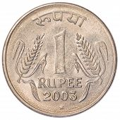 pic of indian currency  - one Indian Rupee coin isolated on white background - JPG
