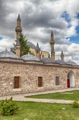 Hdr: Tomb Of Mevlana, The Founder Of Mevlevi Sufi Dervish Order, With Prominent Green Tower In Konya