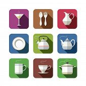 kitchen tableware set of icons. vector illustration isolated on white background EPS10. Transparent objects and opacity masks used for shadows and lights drawing