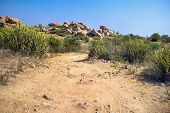 A hiking trail through a dry rocky hillside
