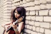 Beautiful Girl With Guitar Outdoor