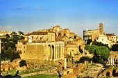 ROME, ITALY - APRIL 17: Roman Forum with the Coliseum in the background on April 17, 2013 in Rome, I
