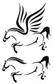 image of pegasus  - horses black and white vector outline  - JPG