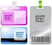 Reset. Id cards. Raster illustration.