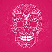 stock photo of day dead skull  - Day of The Dead pink and white Skull  - JPG