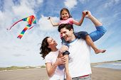 image of kites  - Family Having Fun Flying Kite On Beach Holiday - JPG