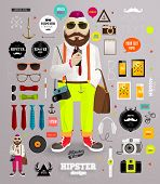 stock photo of mustache  - Hipster elements and icons set with Hipster Character for vintage style design - JPG