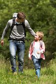 Father And Son Hiking In Countryside