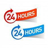 24 hours symbols. Vector.