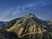 Landscape of mountain scenery with famous Hehuan East Peak under galaxy in the night, Taiwan, Asia.