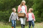 Mother Taking Children On Picnic In Countryside