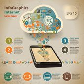 Template For Infographic For Cloud Computer Technology In Vintage Style