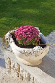 Stone Flowerpot With Pink Flowers