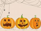 stock photo of bitch  - Scary pumpkins on spider web background - JPG
