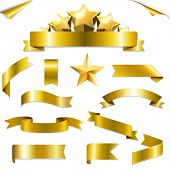 Set Gold Ribbons And Stars With Gradient Mesh, Vector Illustration