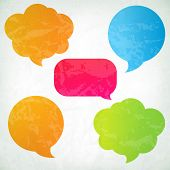 Colorful Vintage Speech Bubbles With Gradient Mesh, Vector Illustration