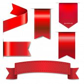 Red Web Ribbons Set With Gradient Mesh, Vector Illustration