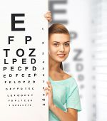 medicine and vision concept - woman in eyeglasses with eye chart