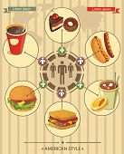 Vintage Cafe info graphics food with icons