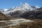 Himalayan Valley And Rescue Helicopter,nepal, Everest Region, Asia