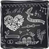 stock photo of boutonniere  - Chalk wedding hand drawn graphic set on a chalkboard - JPG