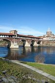 Old Bridge Over Ticino River In Pavia, Italy