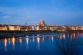 Pavia And Ticino River At Twilight