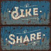 Like, share words - social media concept