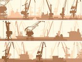 Vector Banners Of Port With Cargo Crane Tower.