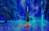 pic of arthurian  - Male hand holding a Sword coming out of a foggy lake - JPG