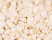 Close up of puffed rice snack.