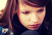 stock photo of lost love  - Teenage girl depression  - JPG