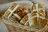 Hot Cross Buns In A Basket