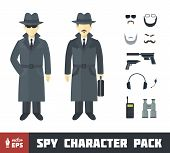 picture of overcoats  - Spy Character Pack with Gadgets in Flat Style - JPG
