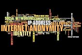 foto of anonymous  - Internet anonymity issues and concepts word cloud illustration - JPG