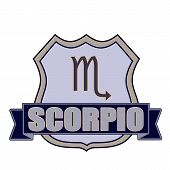 image of scorpio  - scorpio grunge stamp whit on vector illustration - JPG
