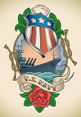 Old-school US NAVY tattoo of a star striped shield, battleship, banner and rose. Raster image (check