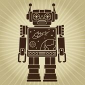 Vintage Retro Video Robot Character