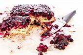 Fresh  Blueberry Pie With Powdered Sugar On White Background