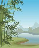 stock photo of paysage  - Summer tropical landscape with mountains in vector - JPG