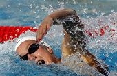 BARCELONA - JUNE, 11: Spanish swimmer Mireia Belmonte swimming freestyle during the Mare Nostrum mee