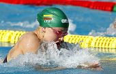 BARCELONA - JUNE, 11: Lithuanian swimmer Ruta Meilutyte swimming breakstroke during the Mare Nostrum