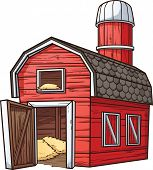 Red cartoon barn. Vector